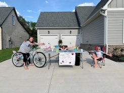 Stratton Rose Thompson started her lemonade stand and soon had help from neighbors Mya and Layla Rockensock. The stand raised $118 for Vanderbilt Wilson County Hospital and its employees to support their care for COVID-19 patients.